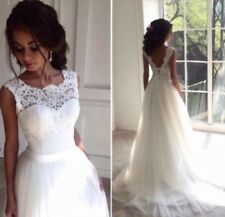 UK Plus Size White/Ivory Lace Wedding Dress Bridal Gown Size 4 - 30