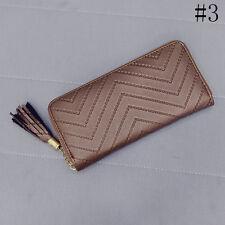 Damen-Leder Geldbörse Portemonnaie Geldbeutel Lang Brieftasche Handtasche Quaste