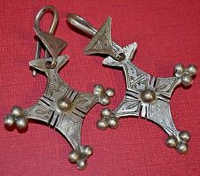 Antique Tuareg Tribal Ethnic Silver Traditional Cross Earrings, Mali Africa