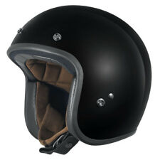 L Large DriRider Low Profile Open Face Motorbike Helmet Gloss Black Peak Visor