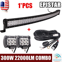 "4/"" 18W Pod car Boat Truck Driving 4WD 52In 300W LED Work Light Bar Wiring Kit"