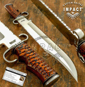 IMPACT CUTLERY RARE CUSTOM D2 LARGE ART BOWIE KNIFE EXOTIC WOOD HANDLE