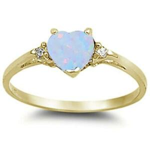 Yellow Gold Plated White Opal & Cubic Zirconia Heart .925 Sterling Silver Ring
