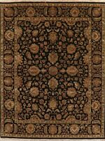 Black Agra Oriental Area Rug Hand-Knotted Wool All Over Floral NEW 8 x 10 Carpet