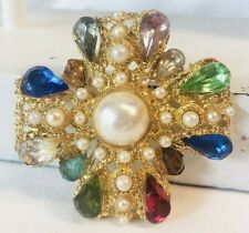Vintage Rhinestone Maltese Brooch/Pin Glass Faux Pearls Art Deco Mid Century