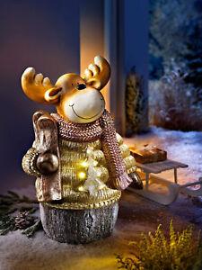 XL LED Winterkind Deko Figur Elch Weihnachtsbeleuchung Außendeko Ski