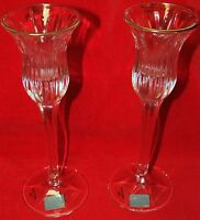 """2 Mikasa Crystal 1"""" Candle Stick Holders Icicles Pattern Made In Germany 8"""" Tall"""