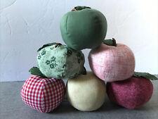Lot Of 6 Primitive Farmhouse Stuffed Fabric Apples Country Ornament Decorative