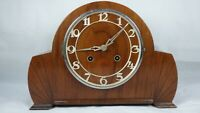 Art Deco Wood Wind Up Working Chimes Napoleon Mantel Clock Needs Parts Vintage