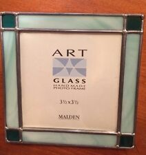 "Vintage Hand Made Glass Photo Frame-Green-4 3/4"" X 4 1/2""""-SHIPS FREE"