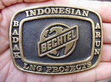 Vtg BECHTEL Belt Buckle 1977 Indonesia OIL Drilling Anacortes Oilfield RARE VG++