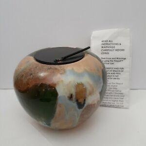 Firepot Hand Glazed Ceramic Green or Cream Brown by Bird Brain NWOB