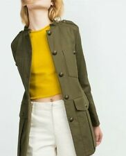 STYLISH ZARA KHAKI GREEN MILITARY STYLE JACKET COAT SIZE M