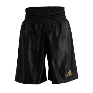 Adidas Satin Boxing Shorts Black & Gold Amateur Pro Adults Mens