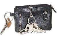 Rinaldo® flache Leder Schlüsseltasche mit 3 Schlüsselringen in Schwarz