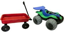 Red Metal Wagon 51cm Classic Toy Long Reach Handle  New Bonus Free Wheel Buggy