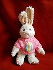 """Lilian Vernon Bunny Rabbit in Pink sweater W/ Egg 8"""" + ears  Jointed"""