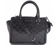 Michael Kors Black Leather Selma Micro Stud Medium Satchel Crossbody Bag Purse