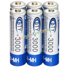 6x AA battery batteries Bulk Nickel Hydride Rechargeable NI-MH 3000mAh 1.2V BTY