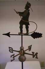 Beautiful Fireman / Hose weathervane, Complete Setup + mount Original Prototype