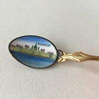 Vintage Budapest Hungarian Small Metal Enamel Souvenir Spoon