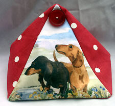 DACHSHUND SMOOTH DOG DESIGN FABRIC DOORSTOP SANDRA COEN ARTIST PAINTING PRINT