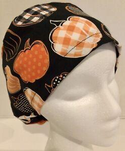 Fall Pumpkin Print Medical Slim Lid Scrub Cap Surgery Hat