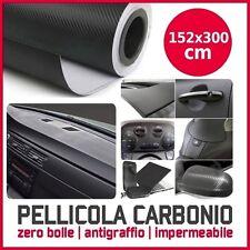 PELLICOLA ADESIVA 152X300 CM CARBONIO TRAMA 3D CAR WRAPPING X AUTO MOTO NERA