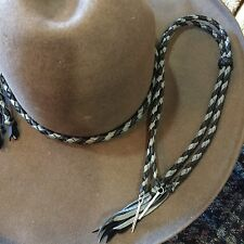 HANDMADE HAT BAND BRAIDED LEATHER WESTERN HATBAND STAMPEDE SET BLACK /GRAY