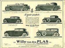 Publicité ancienne voiture Willy van den Plas 1926 Puybelle no 5 issue magazine