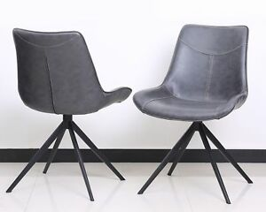 2er Set Design Chair Chairs Dining Chair Lewis Faux Leather Metal Anthracite New