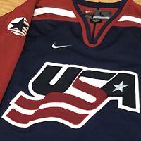 Nike Team USA Hockey retro VTG vintage jersey size Large NHL Dark Blue