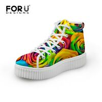 Womens Fashion High Top Trainers Hi Top Flat Platform Sneakers Lady Casual Shoes