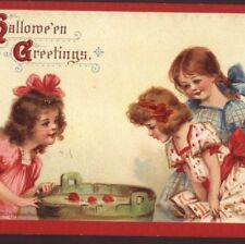"NEAR MINT..! DARLING GIRLS PLAY HALLOWEEN GAME ""APPLE DUNK"",BRUNDAGE POSTCARD"