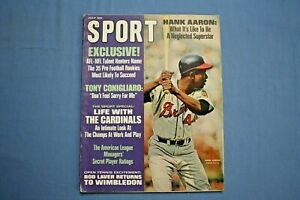 1968 Sport Magazine Hank Aaron on cover ex Rod Laver