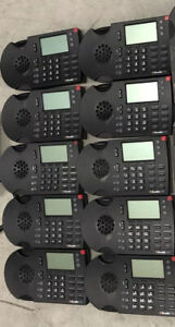 Lot (10) Shoretel 230 Black IP Business Phones Complete With Stands and Handsets