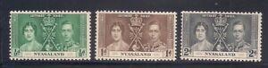 Nyasaland P.  1937   Sc # 51-53   Coronation   MLH   (5032-)