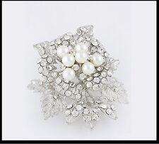 Pearl Brooch Cluster Rhinestone Crystals  Women Fashion Jewelry