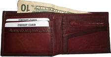 Leather man's cognac wallet 6 credit card space zip change purse Sued interior