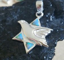 Silver peace dove Star of David with Opal pendant jewish jewelry gift for her