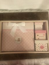 New Pink Baby Girl; 4 Piece Keepsake Set. Photo Album, 3 Trinket Boxes.