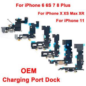 For iPhone 6 6S 7 8 X Plus XR XS Max 11 Charging Port Dock Mic Audio Flex Cable