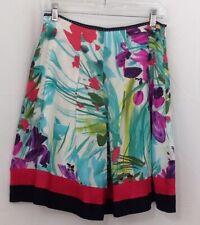 Peter Nygard Womens Size 6 Skirt 100% Silk Lined Multi Floral Knee Length 919E