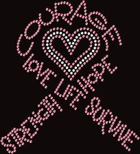 Breast Cancer Ribbon Courage Ribbon Iron On Rhinestone Bling Shirt Transfer