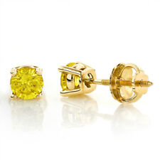 2Ct Round Yellow Canary 14K Yellow Gold Finish Stud Earring Over 925 Silver