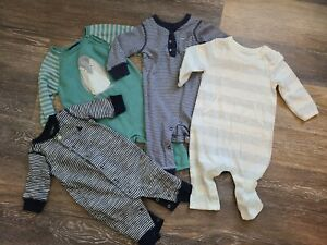 Lot of 4 Baby Boy Long Sleeve and Pant Rompers - Gap Carters Penguin EUC 0-6 mo