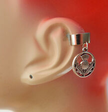 Ear Cuff Thistle Charm Drop Dangle Handmade Jewelry Silver Scottish NEW Wrap