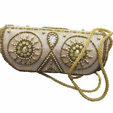 US SELLER Satin Beaded Hand Embroidered Wedding Bridal Evening Clutch Bag Purse