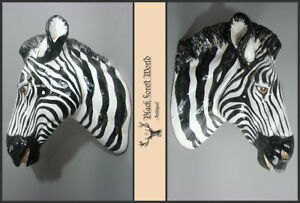 large italian zebra head  plaster polychromed lodge decoy