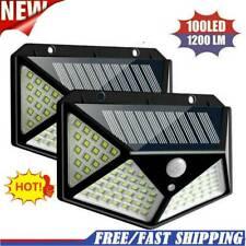 100 LED Solar Power PIR Motion Sensor Wall Light Garden Lamp Waterproof Outdoor